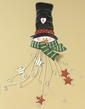 Green Scarf Snowman Metal Card Holder, 28""
