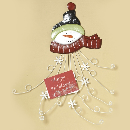 Red Scarf Snowman Metal Christmas Card Holder, 28""