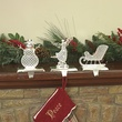 Jeweled Metal Christmas Stocking Holders, 3 Piece Set