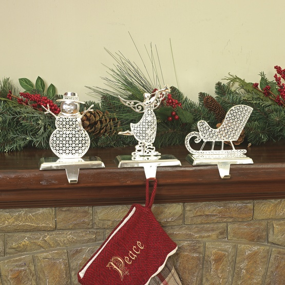 Jeweled Metal Christmas Stocking Holders, 3 Piece Set
