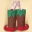 """Fabric Christmas Elf Twin Bottle Wine Bag, 13"""""""