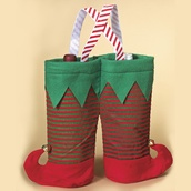 Fabric Christmas Elf Twin Bottle Wine Bag, 13""