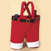 "Fabric Twin Bottle Santa Wine Bag, 13"""