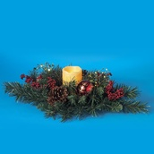 Mixed Pine Candle Holder with Ornament