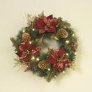 Woodland Poinsettia Prelit LED Holiday Wreath, Warm White Lights