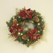 Woodland Poinsettia Prelit LED Holiday Wreath, Warm White Lights