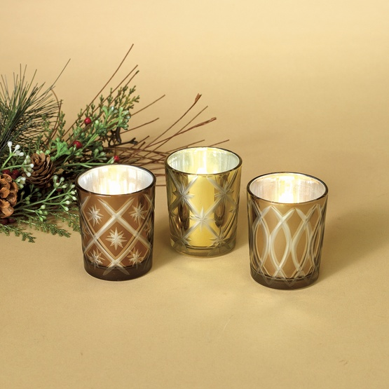 Golden Glass Candle Holders, 3 Piece Set