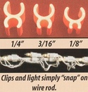 "White 3/16"" Sculpture Clips, 100 Pack."