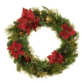 Crimson Harvest Battery Operated LED Wreath, Warm White Lights