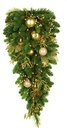 Royal Gold Battery Operated LED Teardrop Christmas Garland, Warm White Lights