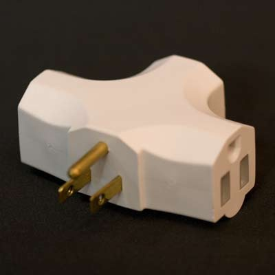 Beige 3-Prong Grounded Splitter