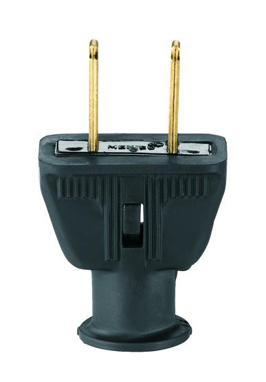 Male Rubber Plug - Polarized - 2 Prong - Black