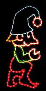 9' X 4' Kneeling Elf, Multicolored Lamps