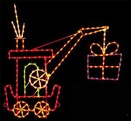 9' X 9' Silhouette Crane Car w/Gift, Amber, Blue, Clear, Green and Red Lamps
