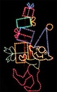 14.5' X 8' Elf Package Peeker, Amber, Blue, Clear, Green, Fuchsia and Teal Lamps