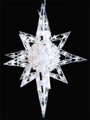 """20""""H Bethlehem Twinkle Star With Sphere, 120 Clear Lamps, White Wire"""