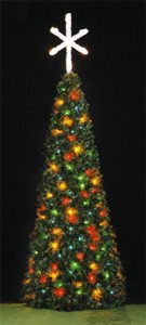 12' Full Round Rocky Mountain Pine Spiral Fantasy Tree, w/3.5' Star Treetopper, Multicolored Lamps