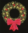 3' Royal Pine Wreath, Hanging Wreath, Clear Lamps
