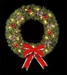 6' Deluxe Rocky Mountain Pine Wreath, Building Front, Clear Lamps