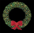 8' Rocky Mountain Pine Wreath w/Orb Lights, Mini Lights and 3' Deluxe Glitter Bow, Building Front