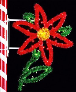 4.5' X 2' Single Poinsettia, Pole Mount, Amber, Green and Red Lamps