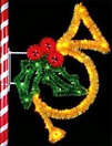 7' X 5' French Horn w/Holly and Garland, Pole Mount, Amber, Green and Red Lamps