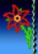 8' C7 & Garland, Pole Mounted Poinsettia