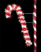 6' X 4'  Designer Candy Cane, Pole Mount, Clear and Red Rope Light