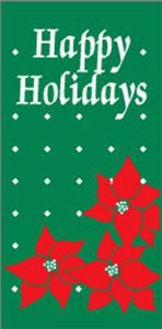 "Happy Holidays Poinsettia Light Pole Banner 30"" x 84"""
