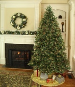 7.5' Full Pre-lit Noble Fir Tree, 800 Warm White LED Lights