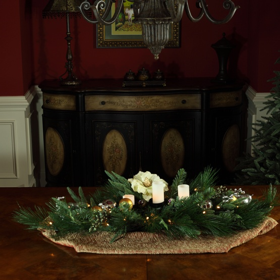 "42"" Aspen Silver Candle Centerpiece With Battery Operated Lights"