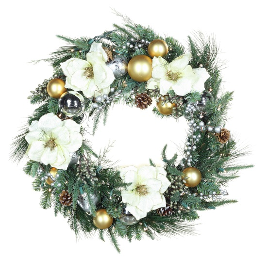 Aspen Silver Battery Operated LED Wreath, Warm White Lights