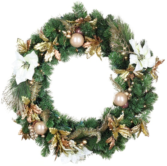 Canterbury Battery Operated LED Wreath, Warm White Lights