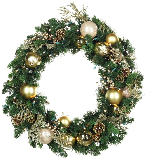 Royal Gold Battery Operated LED Wreath, Warm White Lights