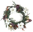 Vermont White Battery Operated LED Wreath, Warm White Lights