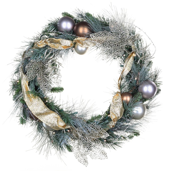 Scotch Mixed Pine Battery Operated LED Wreath, Warm White Lights