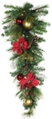 Crimson Harvest Battery Operated LED Teardrop Christmas Garland, Warm White Lights