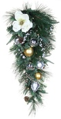 Aspen Silver Battery Operated LED Teardrop Christmas Garland, Warm White Lights