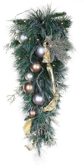 Scotch Mixed Pine Battery Operated LED Teardrop Christmas Garland, Warm White Lights