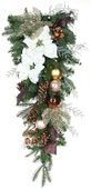 Vermont White Battery Operated LED Teardrop Christmas Garland, Warm White Lights