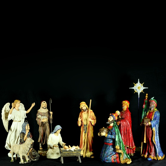 "12.5""H Deluxe Three Kings Complete Nativity Set with Authentic Gifts"