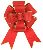 Red with Gold Trim Blooming Puff Nylon Bow