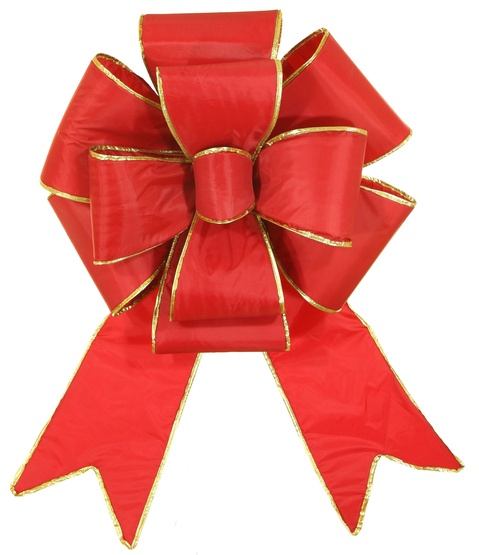 "18"" Red Blooming Bow with Gold Trim"