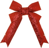 "18"" Red Glitter Christmas Bow"