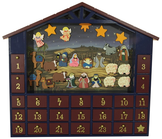 Wooden Christmas Nativity Advent House