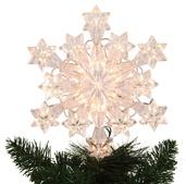 """9.5"""" Lit Snowflake Tree Topper"""