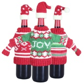 3 Piece Knit Christmas Sweater Wine Bottle Covers