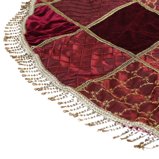 """56"""" Burgundy Checked Christmas Tree Skirt with Tassels"""