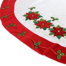 "56"" White Tree Skirt with Poinsettia Design"