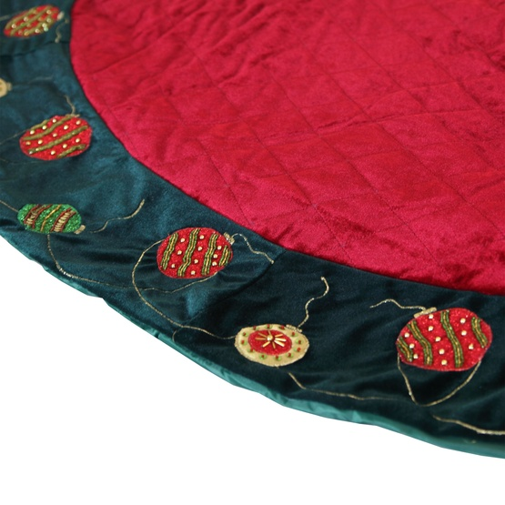 "56"" Quilted Red Tree Skirt with Green Ornament Trim"